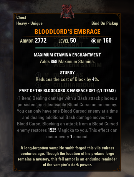 eso mythic gear antiquities bloodlord's embrace greymoor