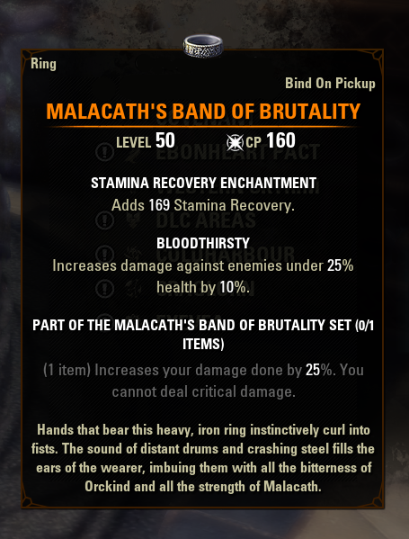 eso mythic gear antiquities malacath's band of brutality greymoor