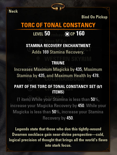 eso mythic gear antiquities torc of tonal constancy greymoor